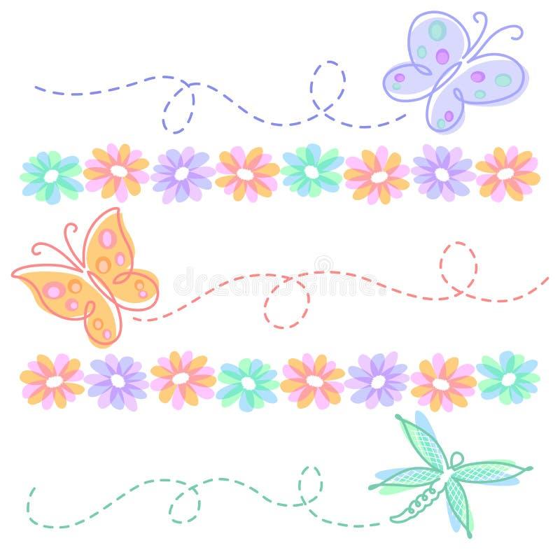 Fiori e farfalle della sorgente illustrazione vettoriale