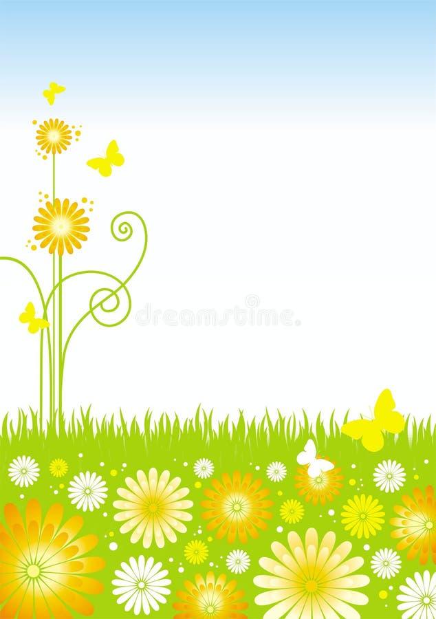 Fiori e farfalle di estate illustrazione di stock