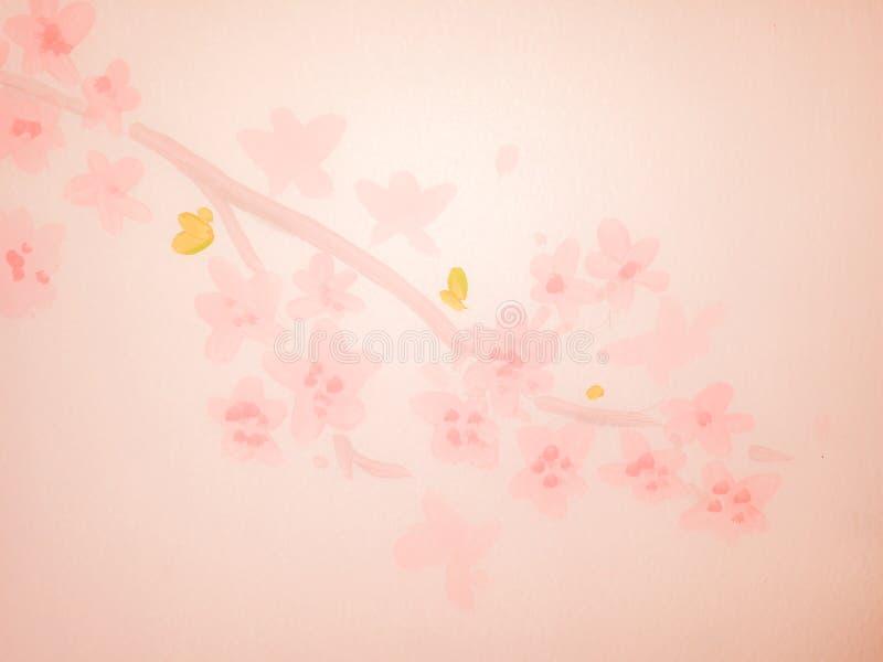 Fiori e floreale rosa sul fondo molle della sfuocatura della parete royalty illustrazione gratis