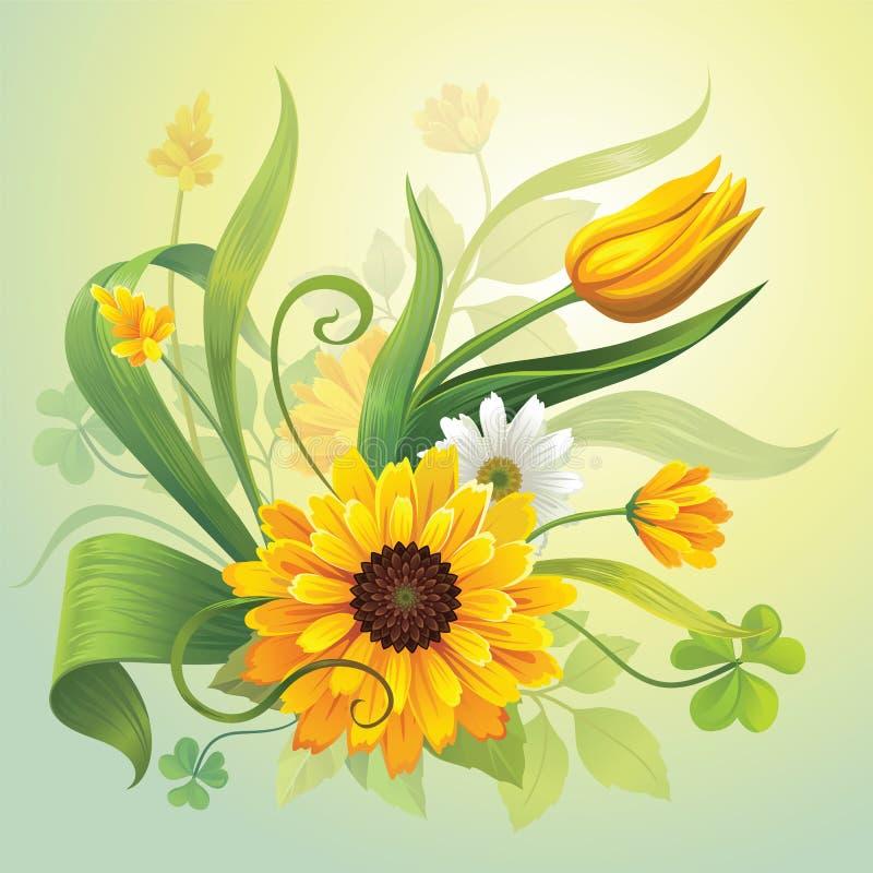 Fiori e fogli gialli realistici di verde royalty illustrazione gratis