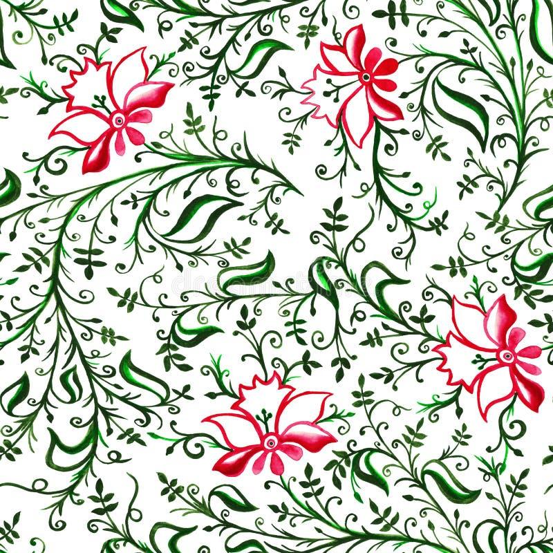 Fiori e foglie delicati openwork dell'ornamento del modello con i riccioli e le viti illustrazione di stock