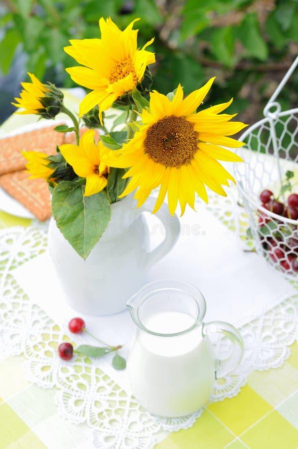 Fiori e latte fotografie stock libere da diritti