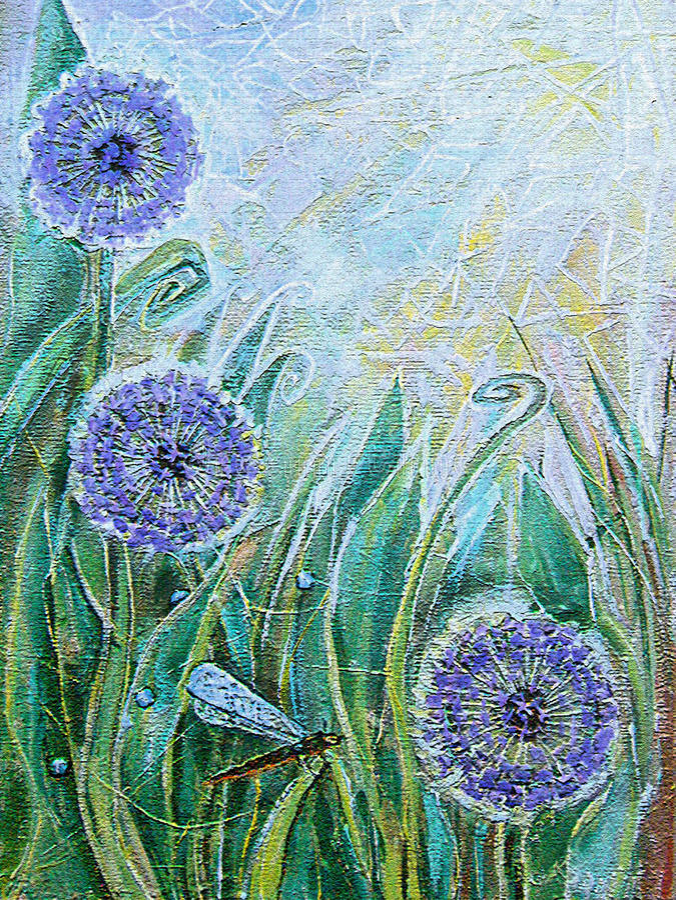Fiori e libellula blu dell'allium Piante di fioritura del prato della primavera illustrazione vettoriale