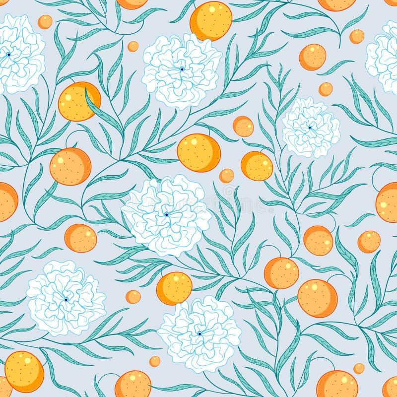 Fiori e mandarini del reticolo illustrazione vettoriale