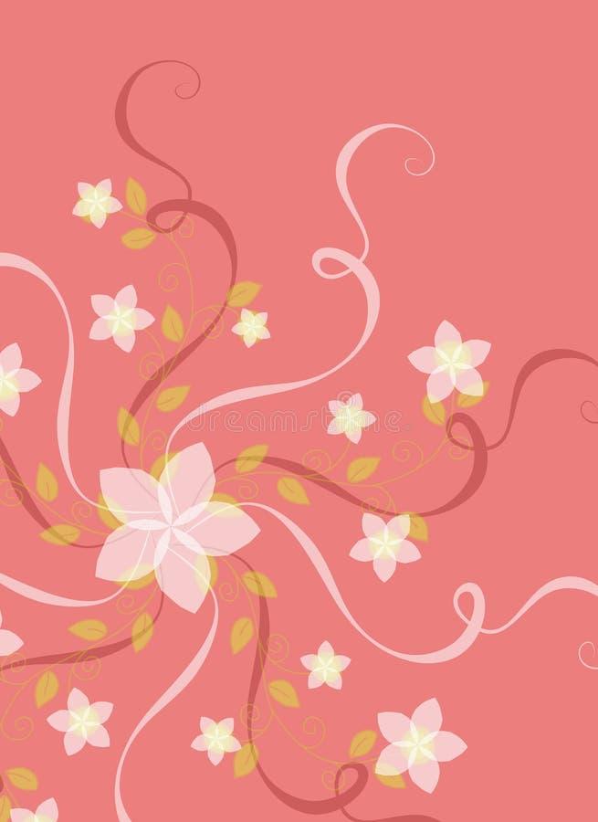 Fiori e nastri sul colore rosa illustrazione di stock
