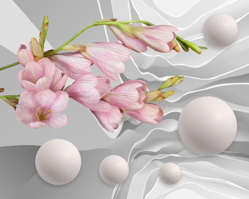 Fiori e palloni di astrazione Carta da parati stereoscopica della foto per l'interno rappresentazione 3d illustrazione vettoriale