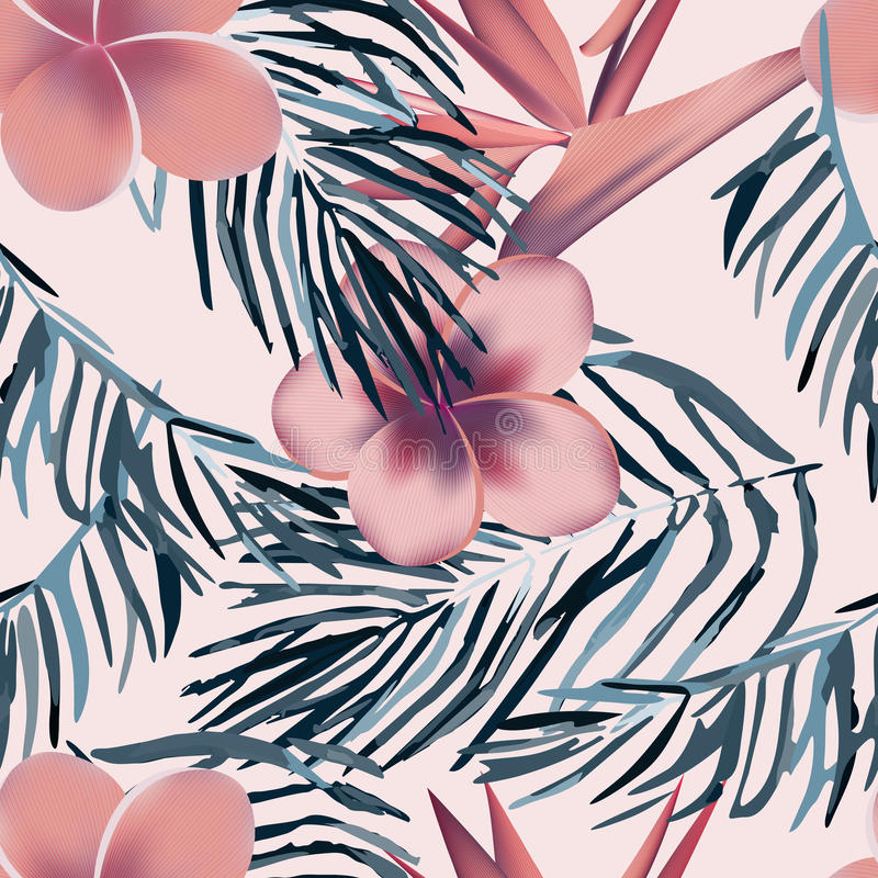 Fiori e piante esotici tropicali con le foglie verdi della palma immagine stock libera da diritti