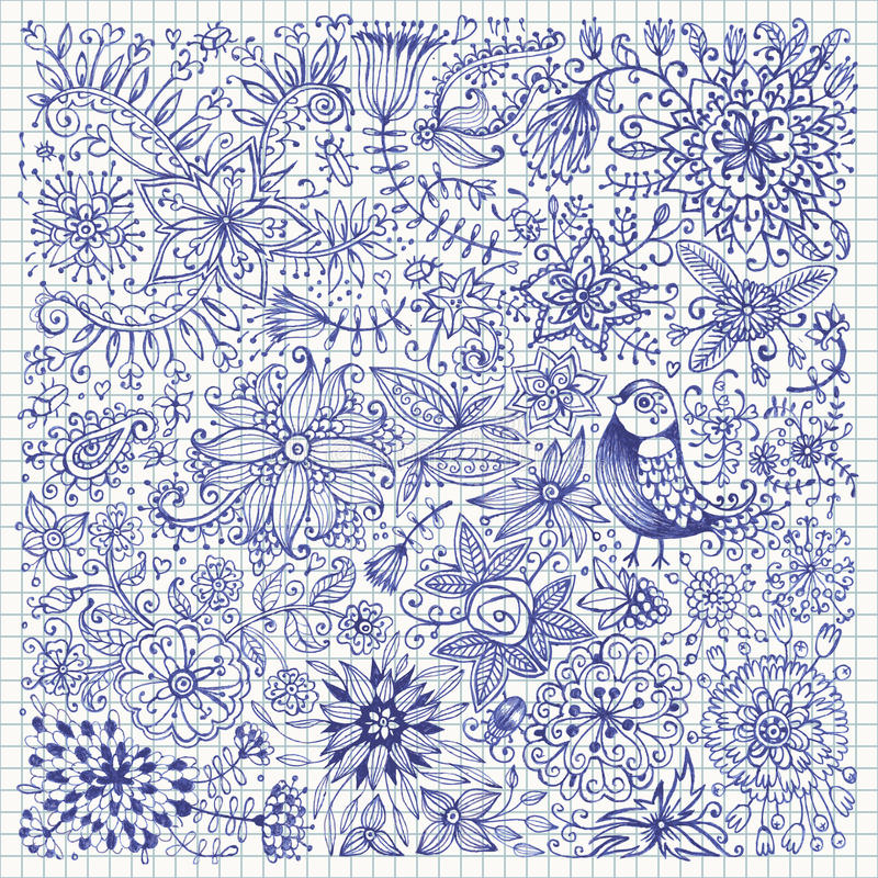 Fiori ed uccelli disegnati a mano illustrazione vettoriale for Fiori disegnati