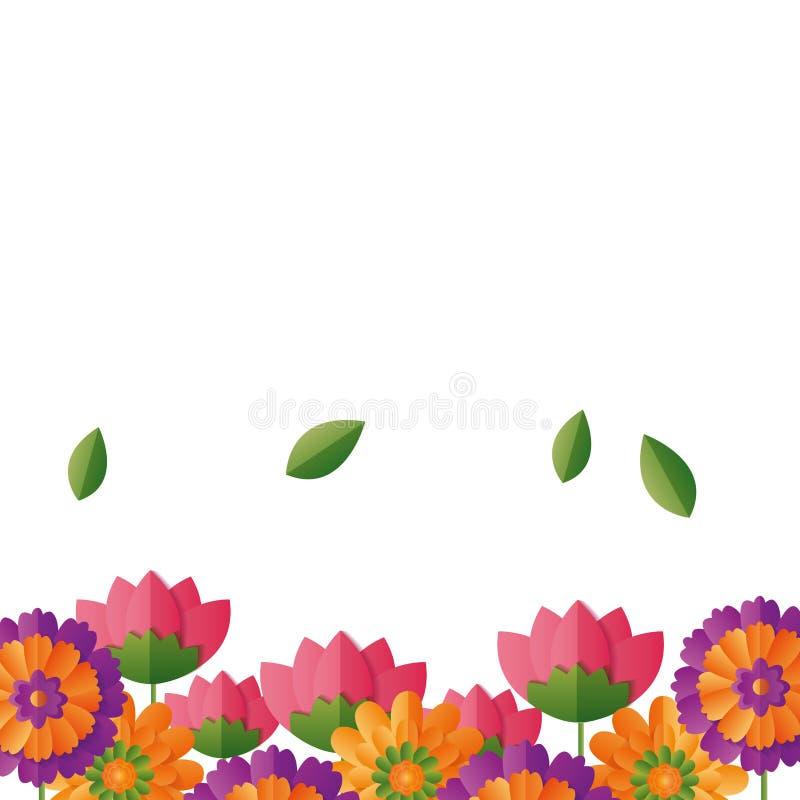 Fiori floreali del confine illustrazione di stock