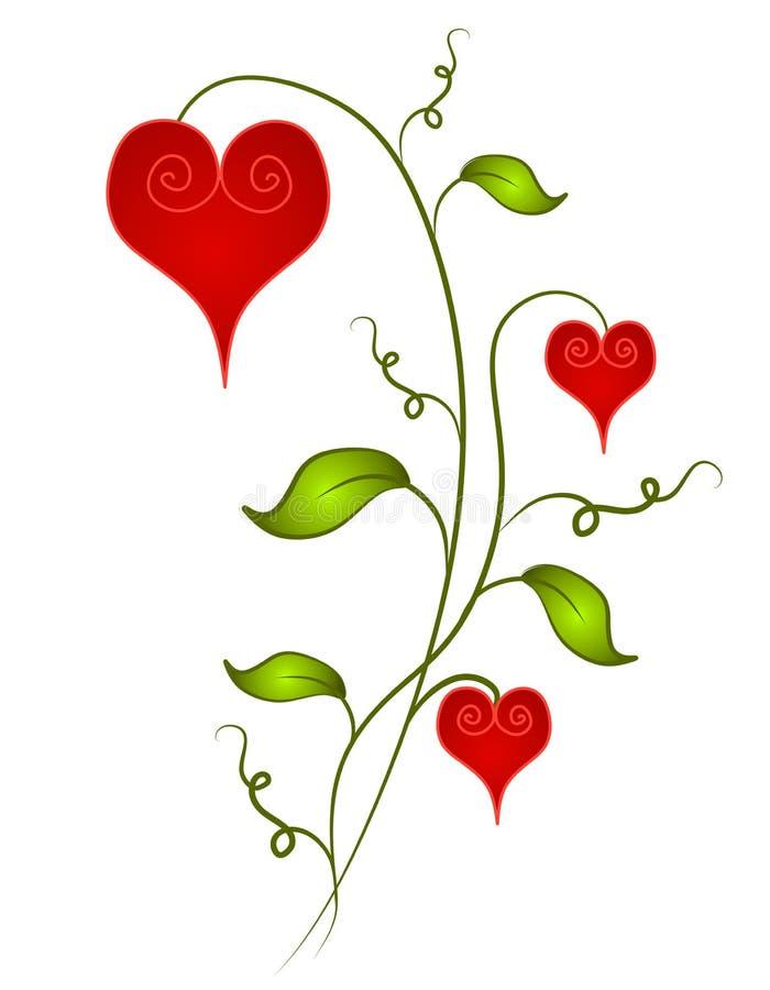 Fiori a forma di del cuore decorativo del biglietto di S. Valentino royalty illustrazione gratis