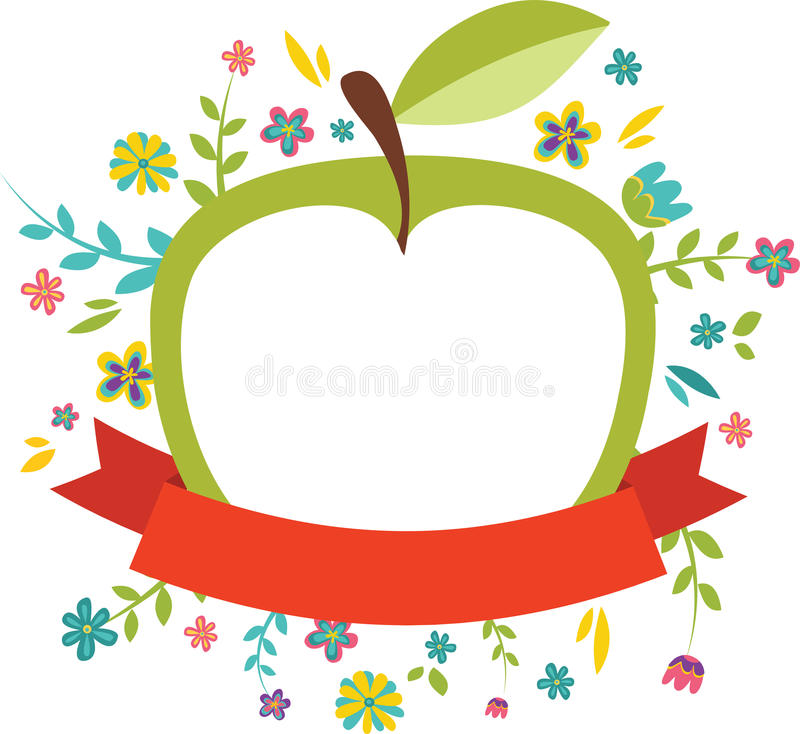 Fiori freschi della molla intorno ad una mela verde illustrazione di stock