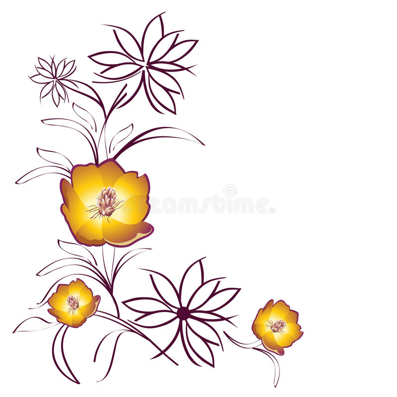 Fiori gialli dei fiori   royalty illustrazione gratis