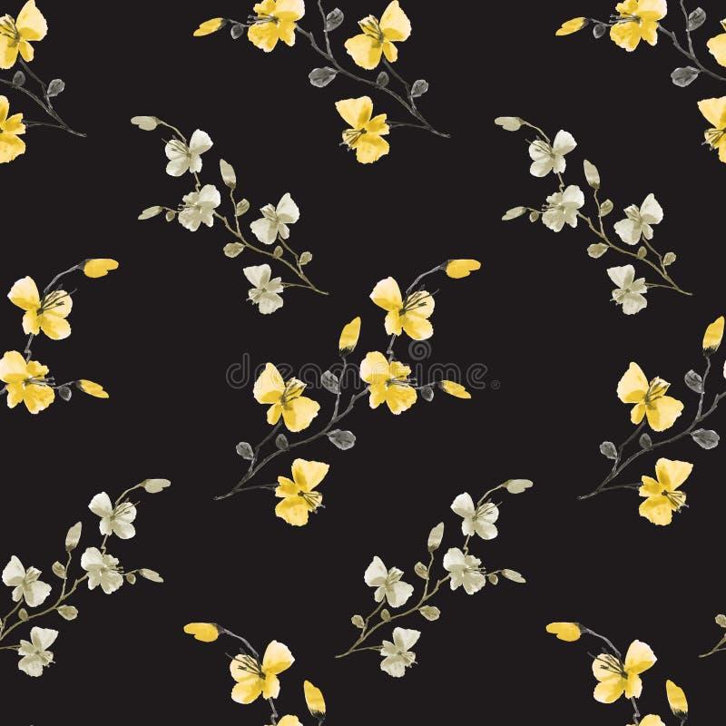 Fiori gialli del modello senza cuciture piccoli, beige e grigi selvaggi sui precedenti neri Priorit? bassa floreale watercolor royalty illustrazione gratis