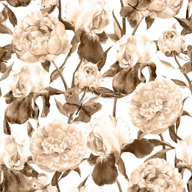 Fiori, iridi e farfalle delle peonie Retro fondo senza cuciture Reticolo floreale Acquerello dell'annata di seppia royalty illustrazione gratis