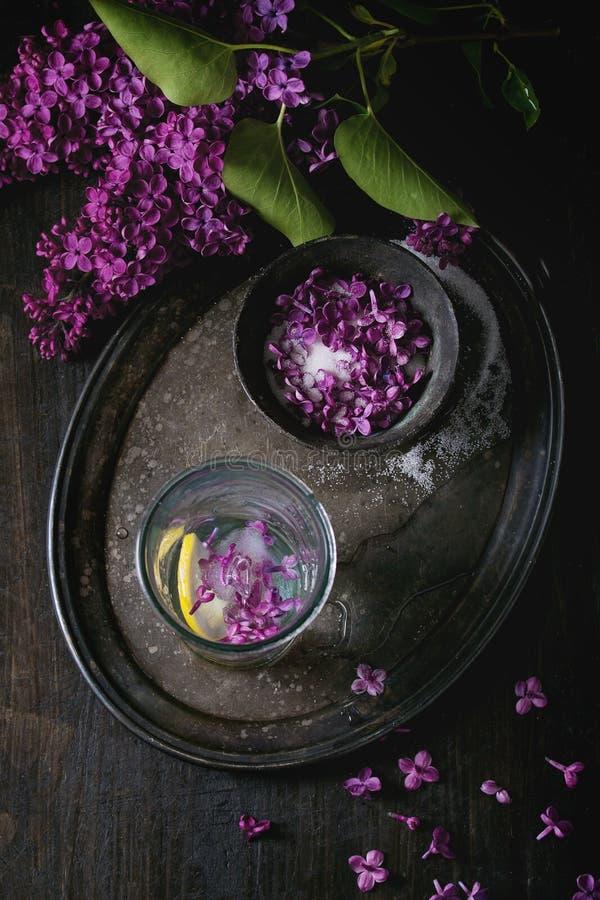 Fiori lilla in zucchero fotografie stock