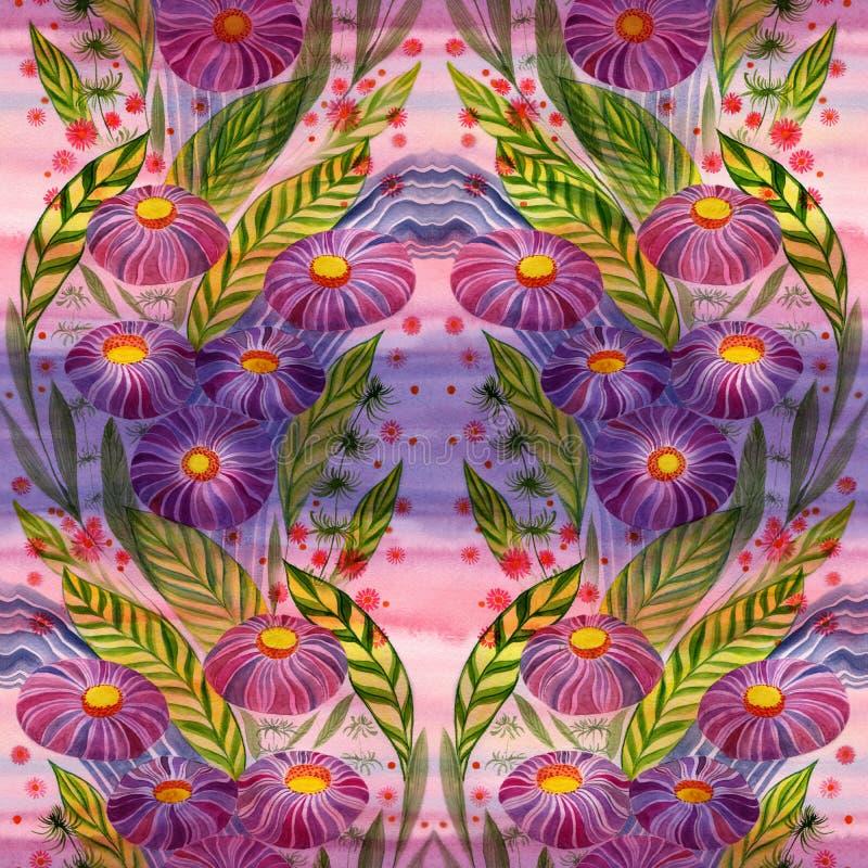 Fiori Mazzo con le foglie, i fiori ed i germogli watercolor Reticolo senza giunte illustrazione vettoriale