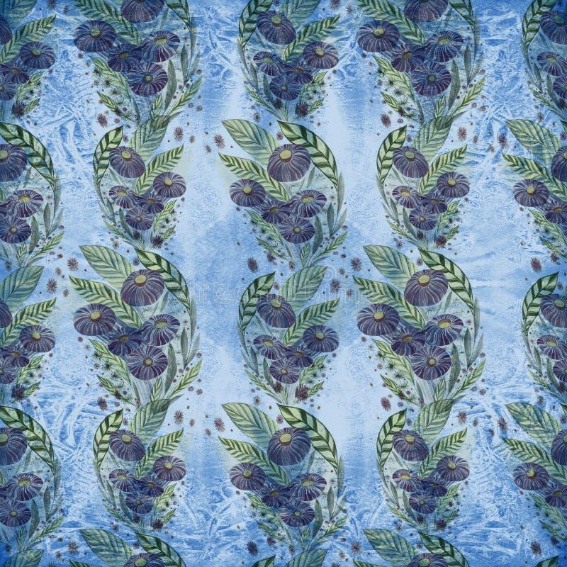 Fiori Mazzo con le foglie, i fiori ed i germogli watercolor Reticolo senza giunte illustrazione di stock