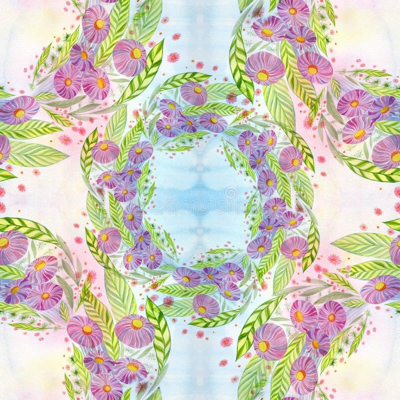 Fiori Mazzo con le foglie, i fiori ed i germogli watercolor Reticolo senza giunte royalty illustrazione gratis