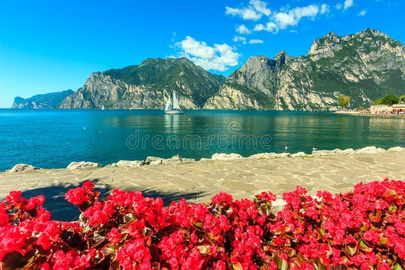 Fiori, montagne e polizia rossi del lago, Italia del Nord, Europa immagini stock