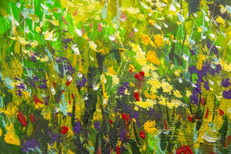 Fiori multicolori astratti di estate Radura dei fiori della molla Frammento ingrandetto dell'immagine Espressionismo con acrilico illustrazione vettoriale