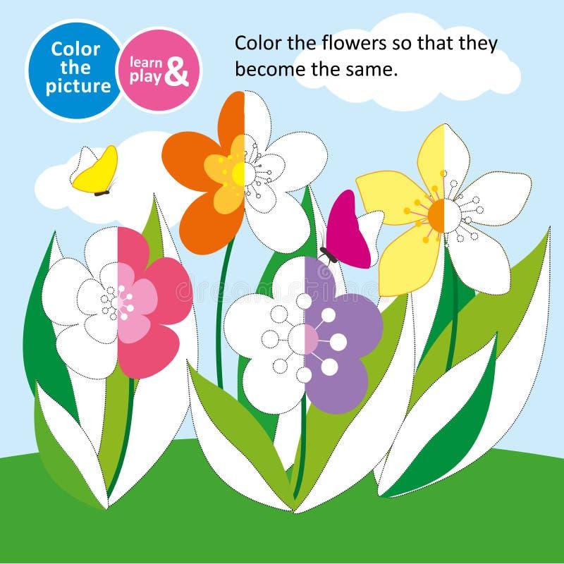 Fiori nel prato di estate Gioco per i piccoli bambini Colori l'immagine coloring Per le riviste dei bambini Treno di memoria royalty illustrazione gratis