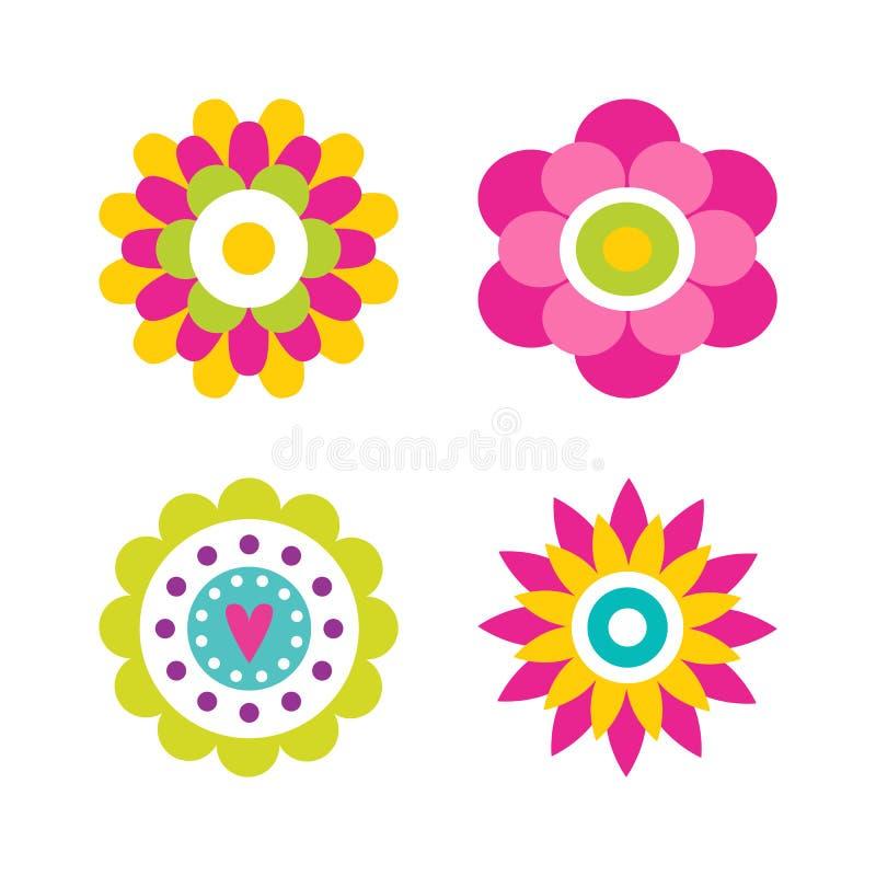 Fiori nell'illustrazione di vettore della raccolta del fiore illustrazione vettoriale
