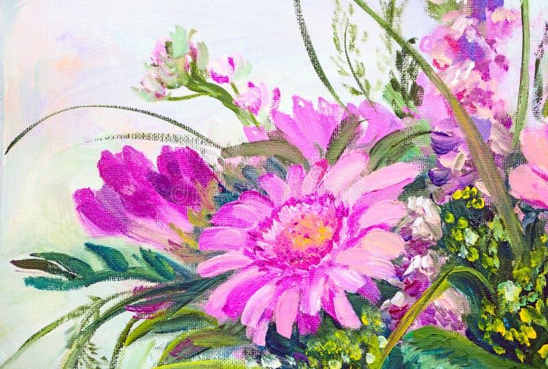 Fiori, pittura a olio illustrazione vettoriale