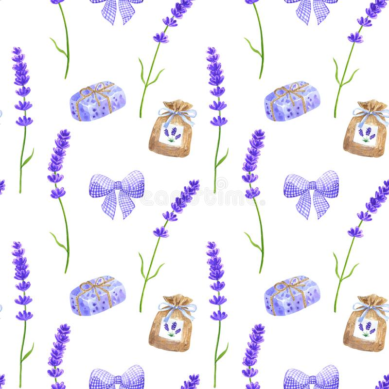 Fiori porpora della lavanda, arco viola, bustina, sapone Modello senza cuciture nello stile della Provenza Illustrazione disegnat illustrazione di stock