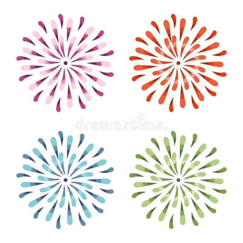 Fiori porpora, rossi, verdi e blu dello sprazzo di sole di vettore dell'acquerello Illustrazione della margherita della primavera royalty illustrazione gratis