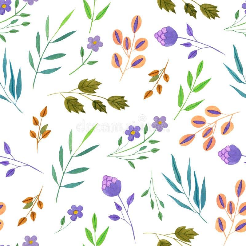 Fiori porpora semplici della primavera e di estate dell'acquerello e modello senza cuciture dei rami di verde illustrazione di stock