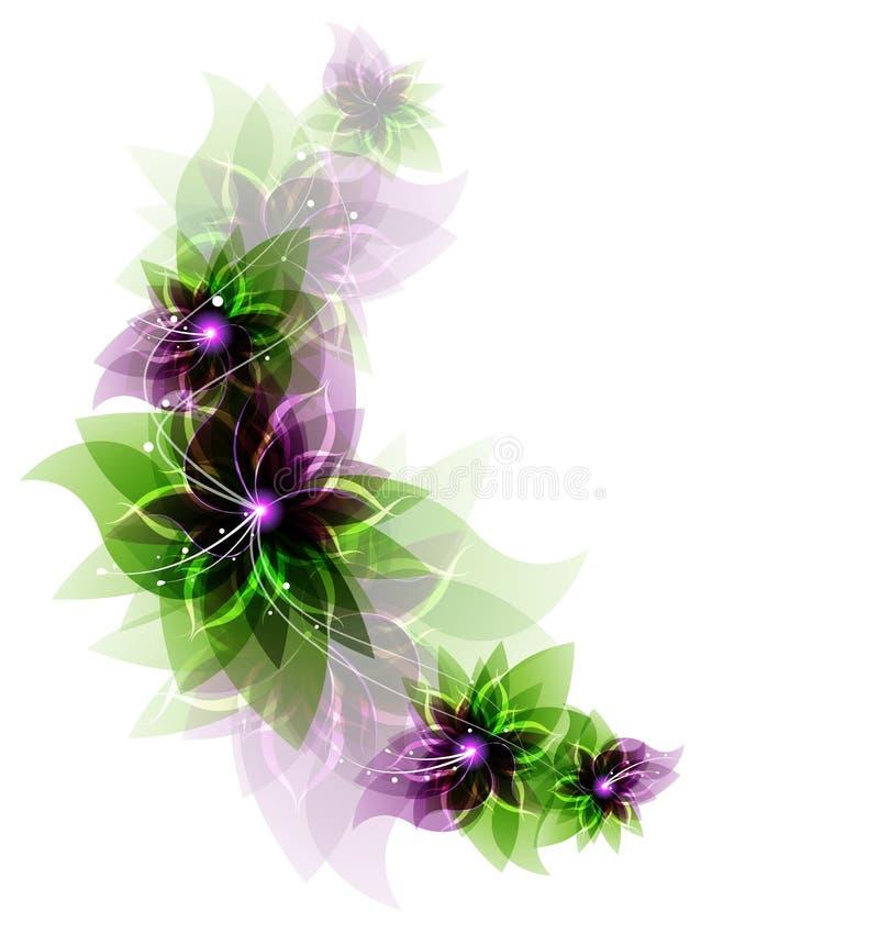 Fiori romantici verdi e porpora illustrazione di stock