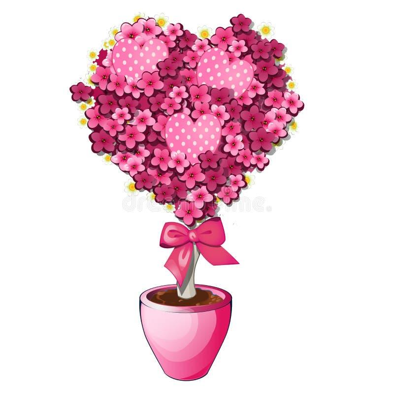 Fiori rosa con l'arco in vaso Albero dei bonsai nella forma di cuore Simbolo romantico illustrazione vettoriale