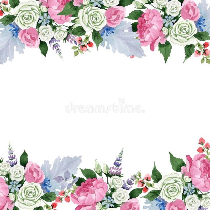 Fiori rosa del mazzo Fiore botanico floreale Quadrato dell'ornamento del confine della pagina illustrazione vettoriale
