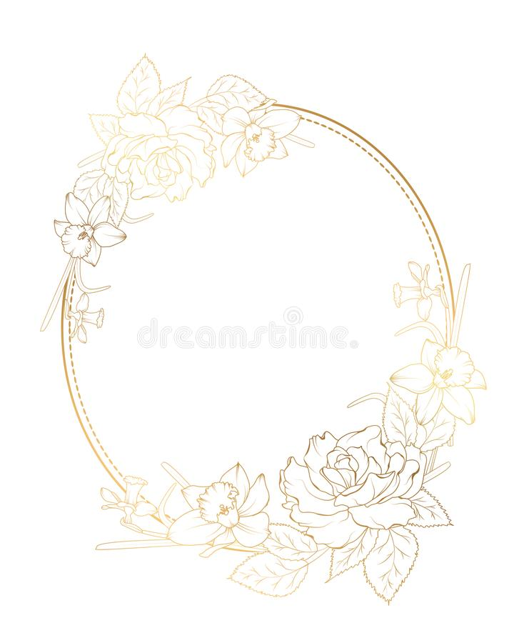 Fiori rosa del narciso del narciso della peonia della struttura ovale royalty illustrazione gratis
