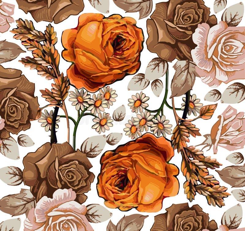 Fiori. Rose. Camomiles. Bello fondo. illustrazione di stock