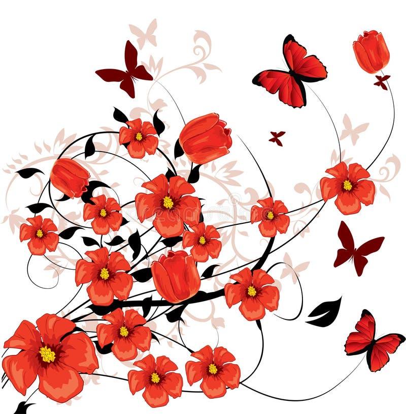 Fiori rossi illustrazione di stock
