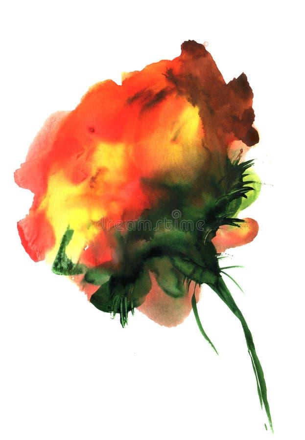 Fiori rossi disegnati a mano di fantasia dell'acquerello Per progettazione, fondo ed il tessuto illustrazione vettoriale