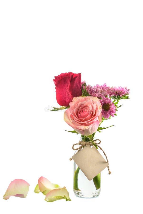 Download Fiori Rossi E Rosa In Chiara Bottiglia Con L'etichetta Sul Backgro Bianco Fotografia Stock - Immagine di fiori, verde: 55363586