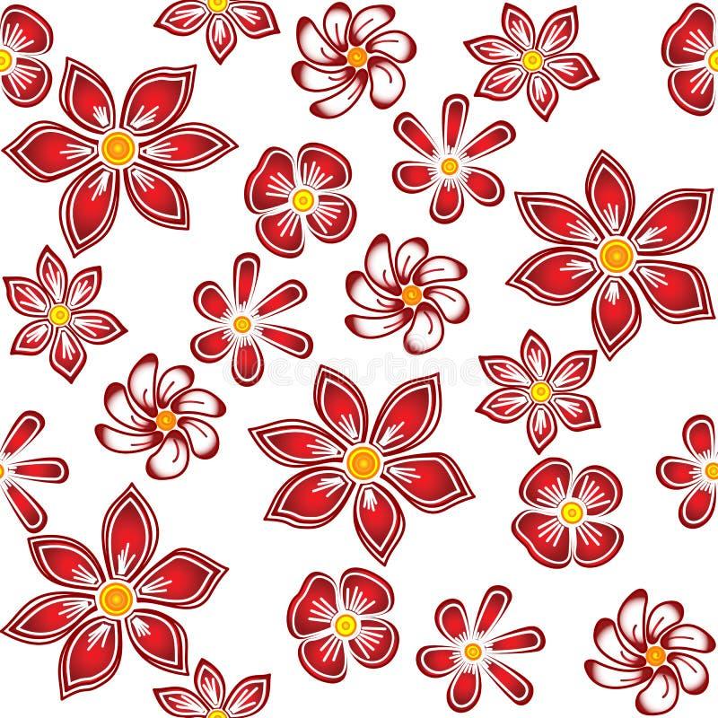 Fiori rossi su priorità bassa bianca. royalty illustrazione gratis