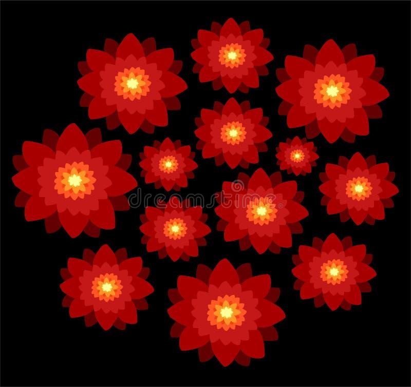 Fiori rossi su priorità bassa nera illustrazione vettoriale