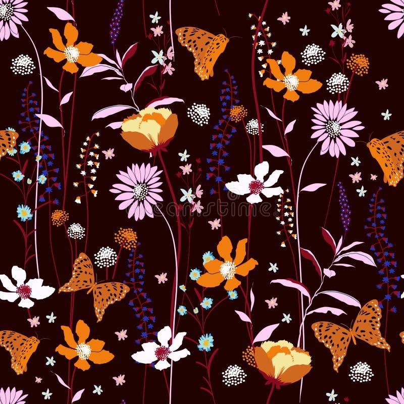 Fiori senza cuciture del colpo del vento del modello, isolati sul passo marrone rossiccio scuro royalty illustrazione gratis