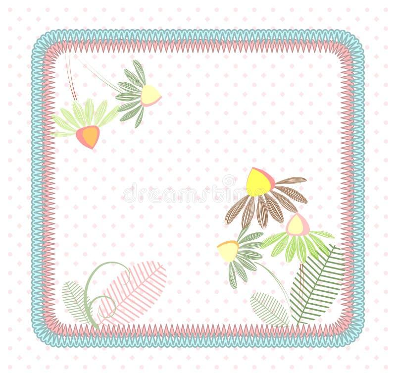 Fiori senza cuciture del pastello del quadrato della rappezzatura illustrazione di stock