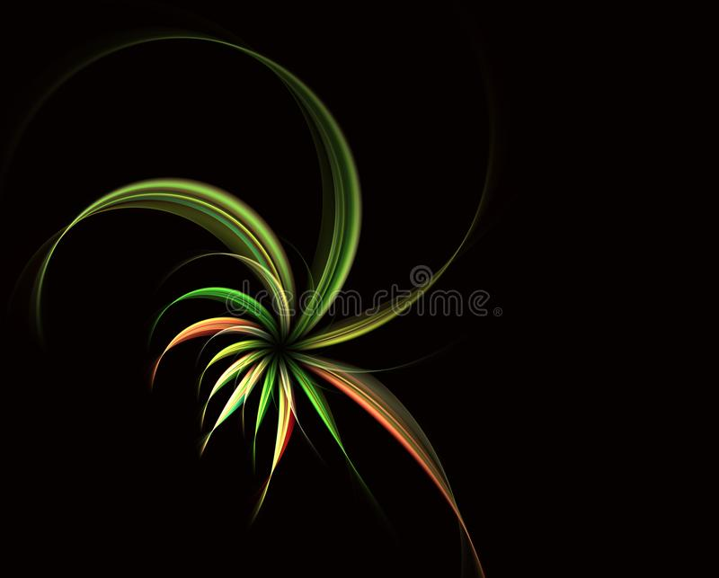 Fiori a spirale magici Frattalo astratto illustrazione vettoriale