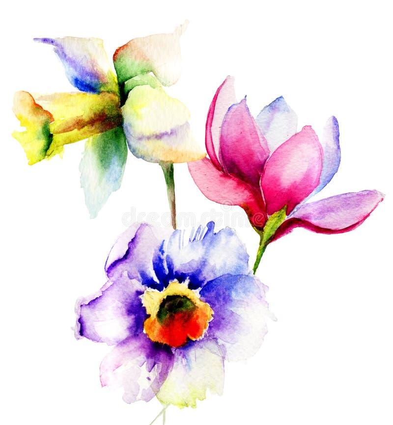 Fiori stilizzati di estate illustrazione di stock for Fiori stilizzati immagini