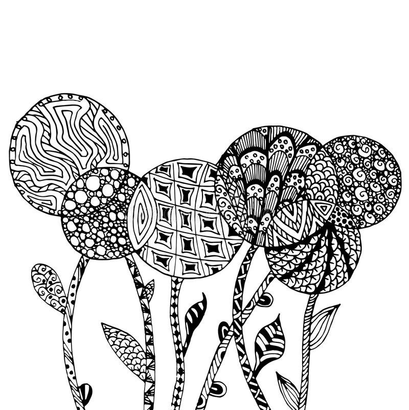 Fiori stilizzati monocromatici del fondo di groviglio disegnato a mano senza cuciture di zen, illustrazione di riserva di vettore illustrazione vettoriale