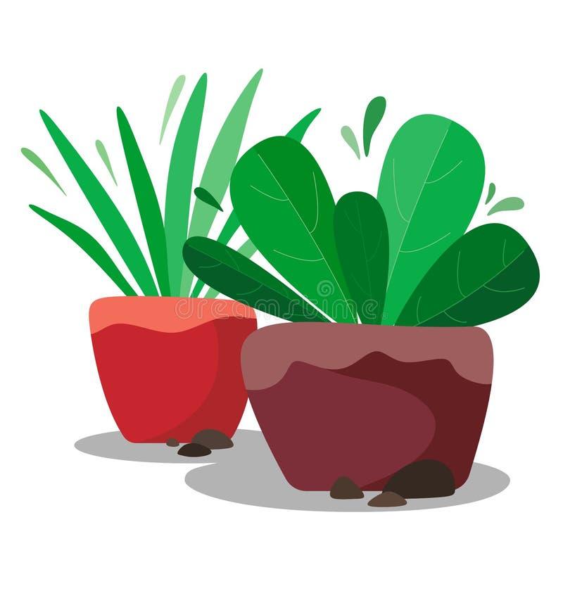 Fiori stilizzati in vasi da fiori, piante di fantasia nello stile piano con le pietre su fondo bianco illustrazione di stock