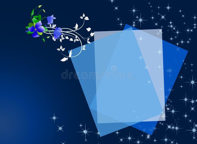 Fiori su priorità bassa blu con la scheda vuota royalty illustrazione gratis