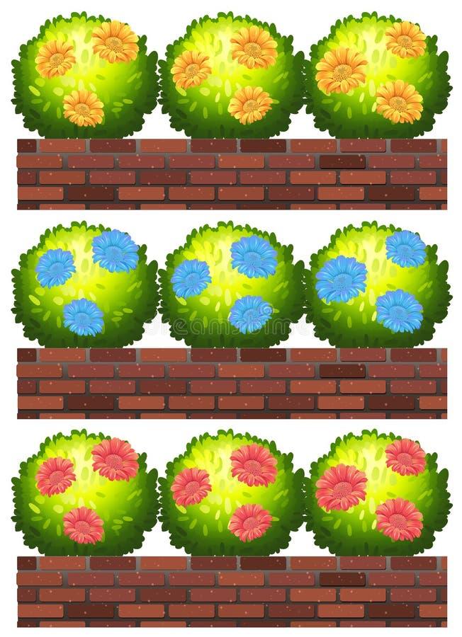 Fiori sui mura di mattoni illustrazione vettoriale