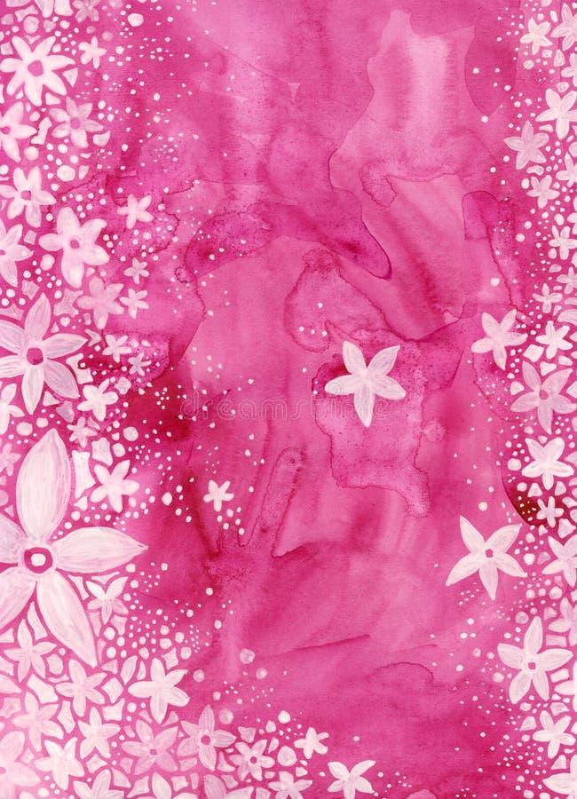 Fiori sul colore rosa   illustrazione di stock