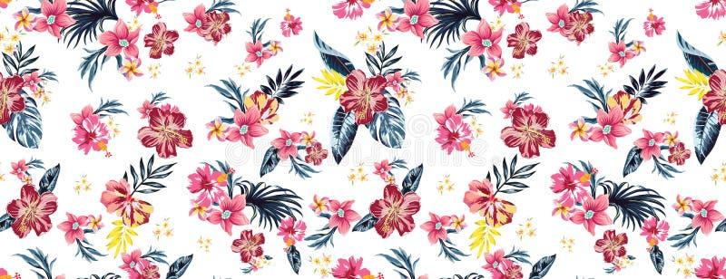 Fiori tropicali colorati senza cuciture per il tessuto; Disposizione floreale di retro stile hawaiano, stile d'annata con fondo n royalty illustrazione gratis
